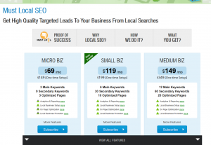 SubmitInMe Local SEO service (submitinme.com/seo-packages/must-local-SEO-package) overview page full size image