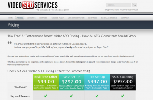 VideoSeoServices.com pricing page full size image