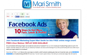 Mari Smith's 'Facebook Ads Webinar' (marismith.com/facebook-ads-webinar) sign up page full size image