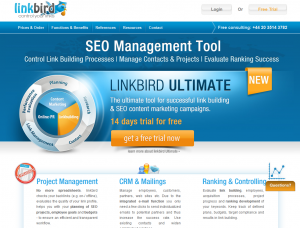 Linkbird (linkbird.com) Link/SEO Management and software home page full size image