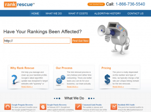 RankRescue (RankRescue.com) Backlink Removal service home page full size image