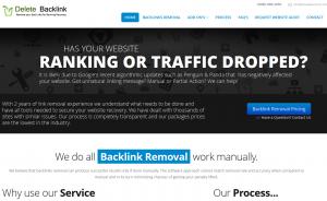 Delete Backlink (DeleteBacklink.com) link removal service home page full size image