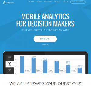 Amplitude (Amplitude.com) Mobile Analytics home page full size image