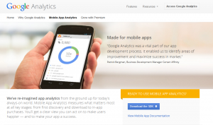 Google Mobile App Analytics (google.com/analytics/mobile) page full size image
