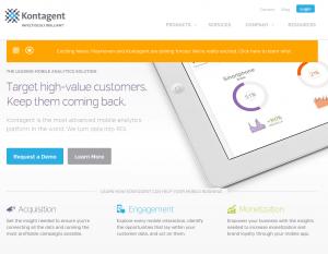 Kontagent (Kontagent.com) Mobile Analytics home page full size image