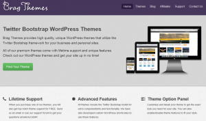 Brag Themes (bragthemes.com) Twitter Bootstrap WordPress Themes home page full size image