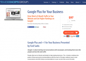 PrimeConcepts.com Google Plus training video sales page full size image