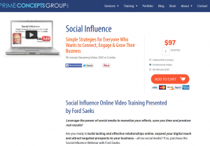 'Social Influence' (PrimeConcepts.com/store/social-influence) SMM training video sales page full size image