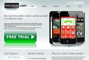 SiteOnMobi (siteonmobi.com) Mobile Website Builder home page full size image