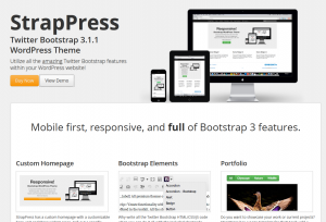 Strappress (strappress.com) Twitter Bootstrap Theme sales page full size image