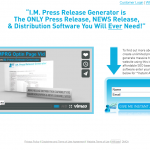 IM Press Release Generator (impressreleasegenerator.com) home page full size image
