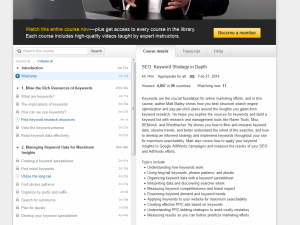 Lynda.com 'SEO: Keyword Strategy in Depth' training course overview page full size image
