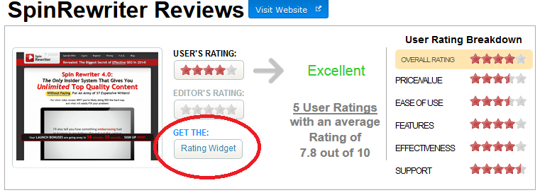 rating widget button
