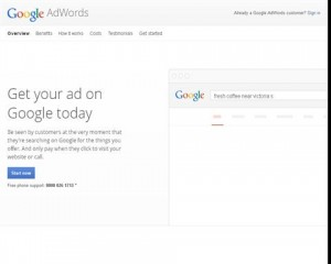 Google Adwords Home page full size image